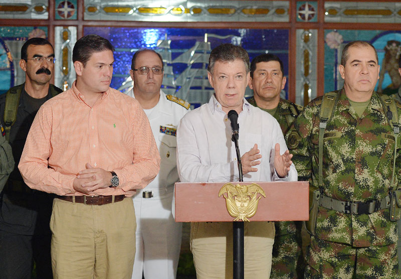 President Santos news conference on the slow process in Havana, Cuba.