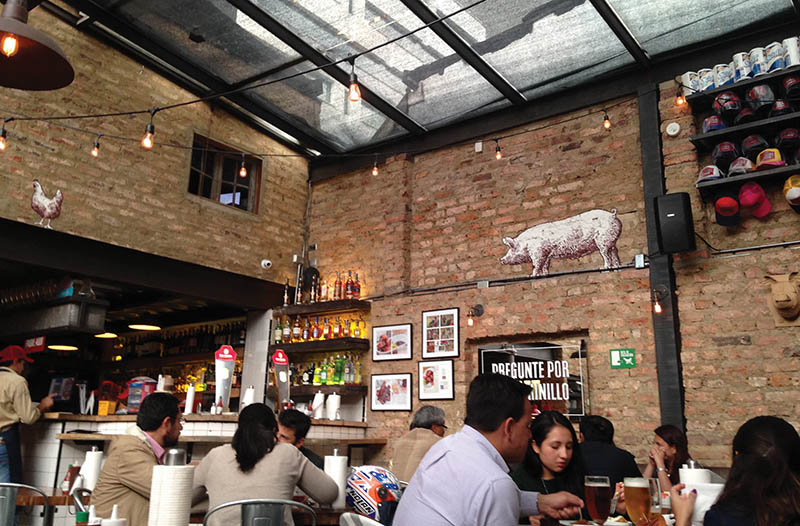 Interior of La Fama restaurant in Bogotá.