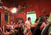 The bar at the Brisa Loca Hostel in Santa Marta