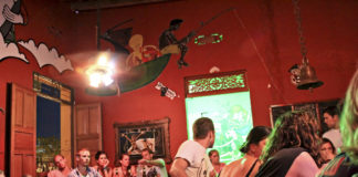 The bar at the Brisa Loca Hostel in Santa Marta