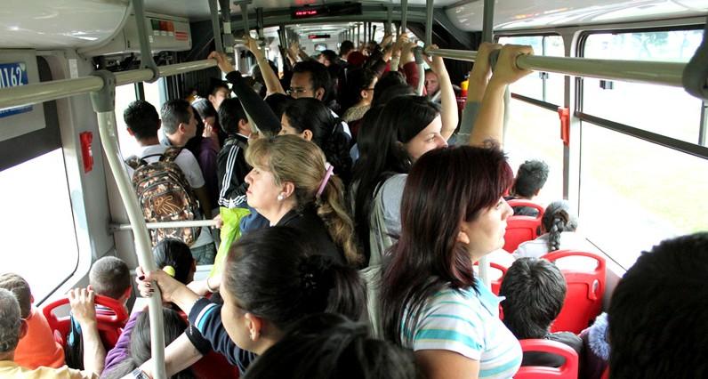 Crowded Transmilenio bus in Bogotá