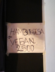 A sign for vegan hamburgers in Bogotá by Flickr user yonolatengo