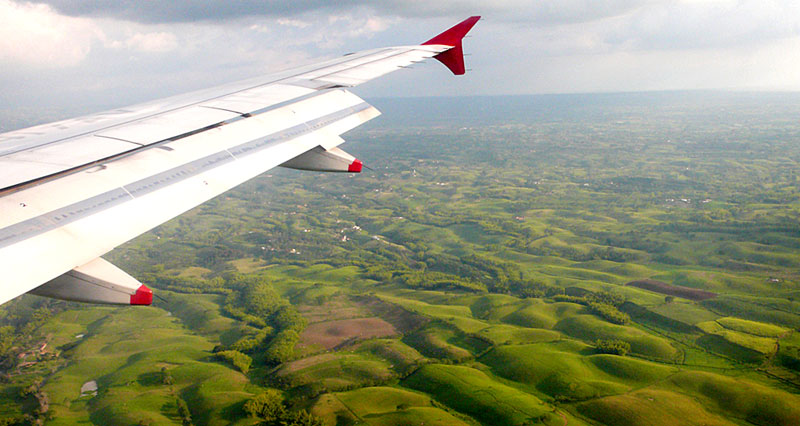 View from an Airplane over Colombian rolling hills