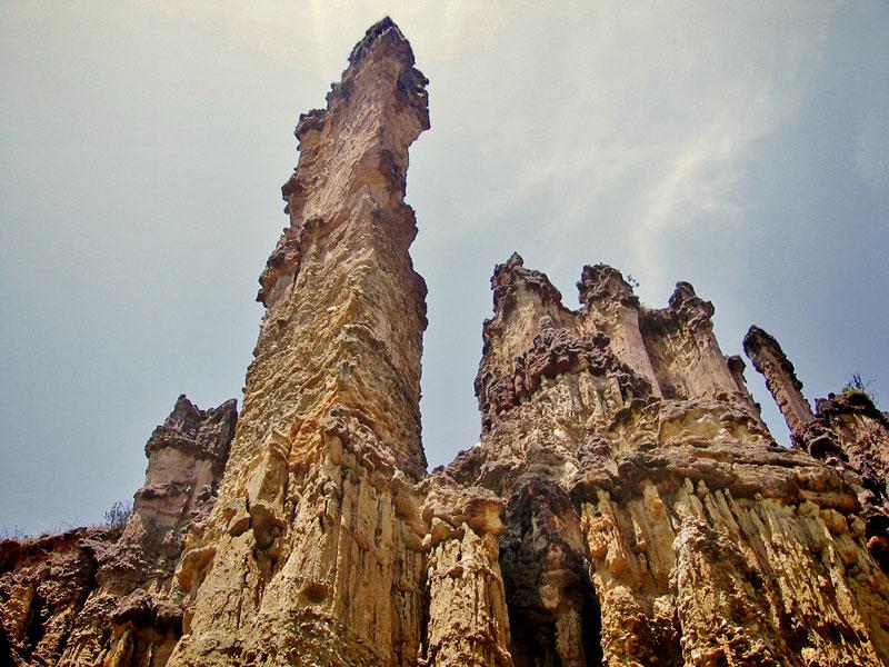 Rock spires in Los Estoraques National Park in Colombia