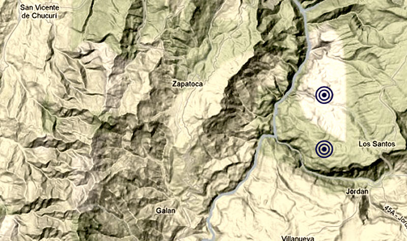 Earthquake map of Santander, Colombia