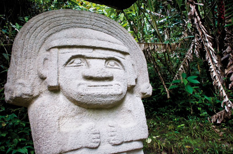 A stone statue within the San Agustin natural park.
