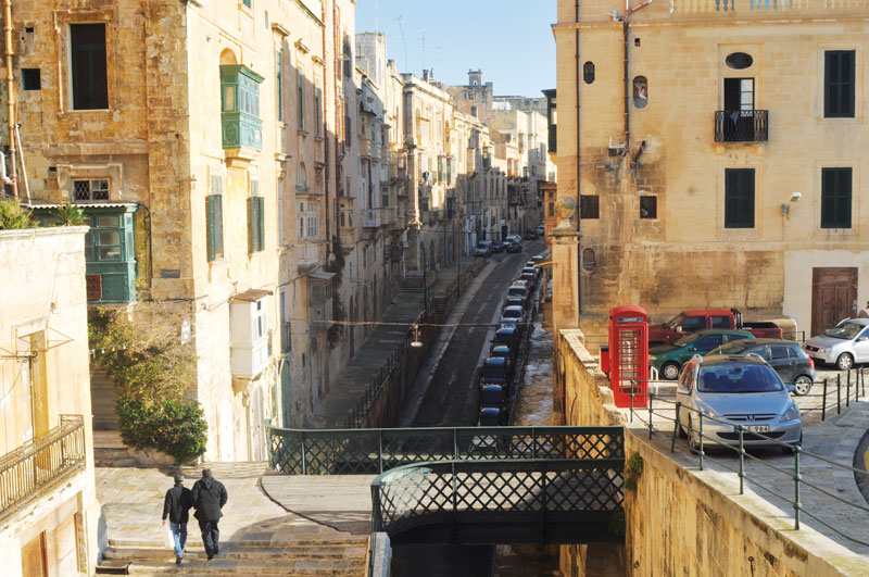 The limestone buildings of Old Valletta.
