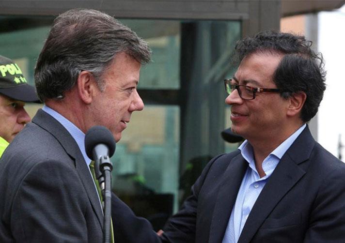 Bogota Mayor Gustavo Petro and Juan Manuel Santos.