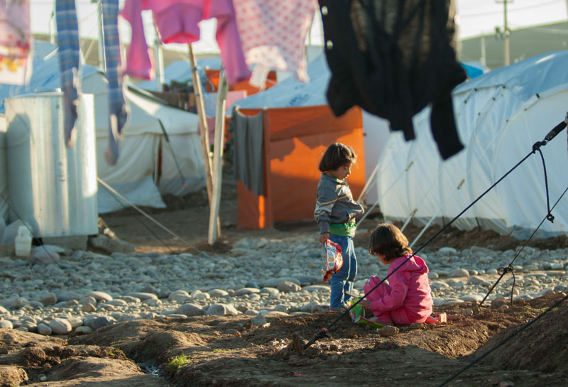 Refugees in a camp in Turkey