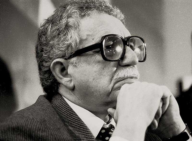 Picture of Gabriel García Márquez during an event at the Casa de Poesia Silva.