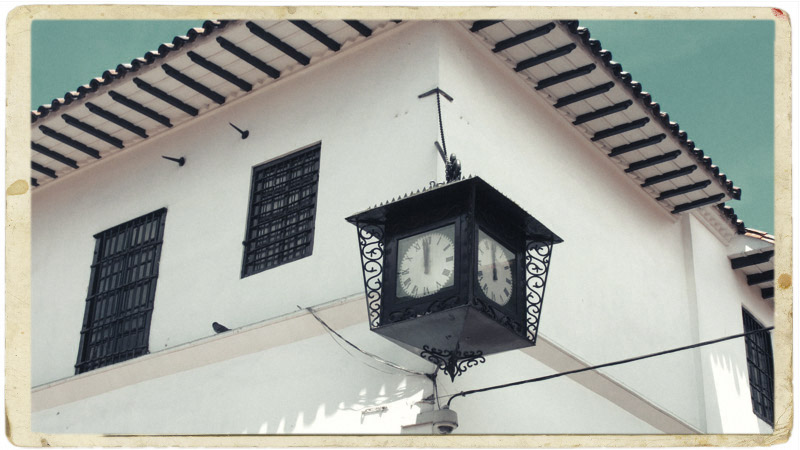 The Viennese style clock in front of the Old Mint, La Candelaria.