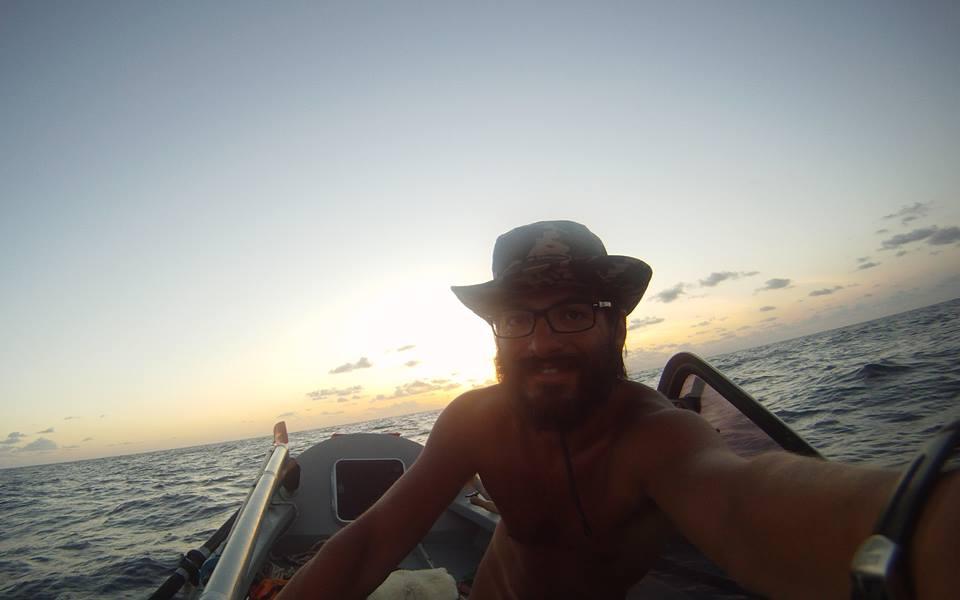 Nicolas Carvajal rows across the Atlantic ocean.