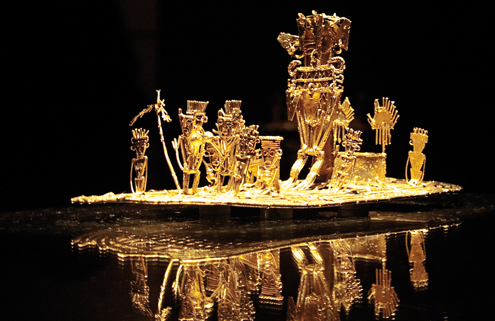 The gold raft exhibited in the Gold Museum of Bogota.