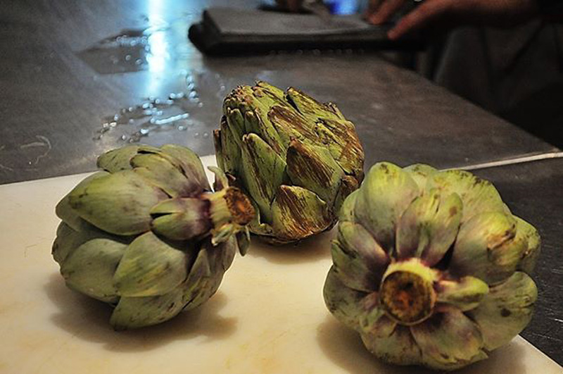 The roasted artichokes at La Xarcuteria in Bogotá.