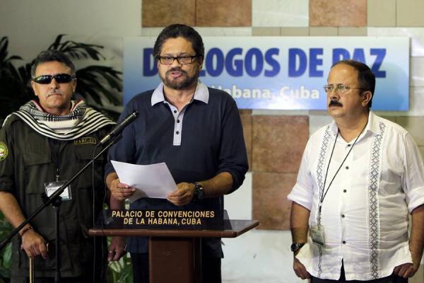 File photo of the FARC's senior negotiators in Havana, Cuba.