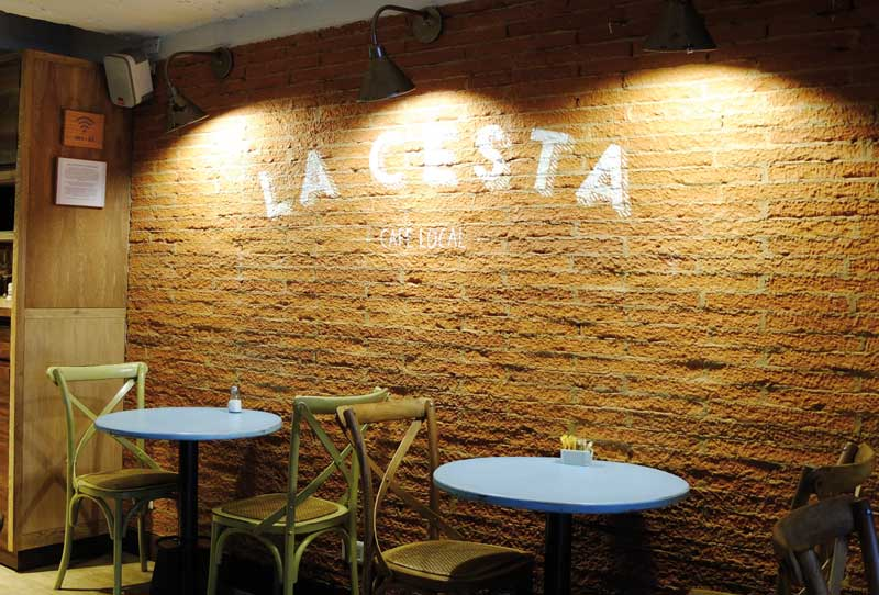 The interior of La Cesta café in Bogotá.
