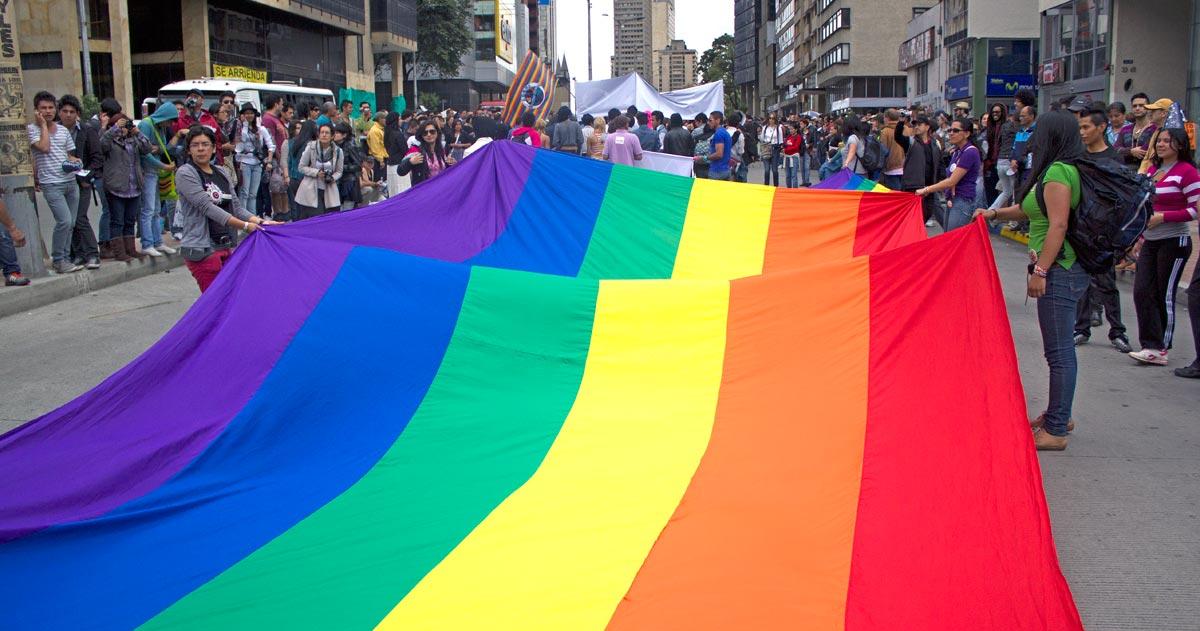 Marchers participate in Bogotá's gay pride parade