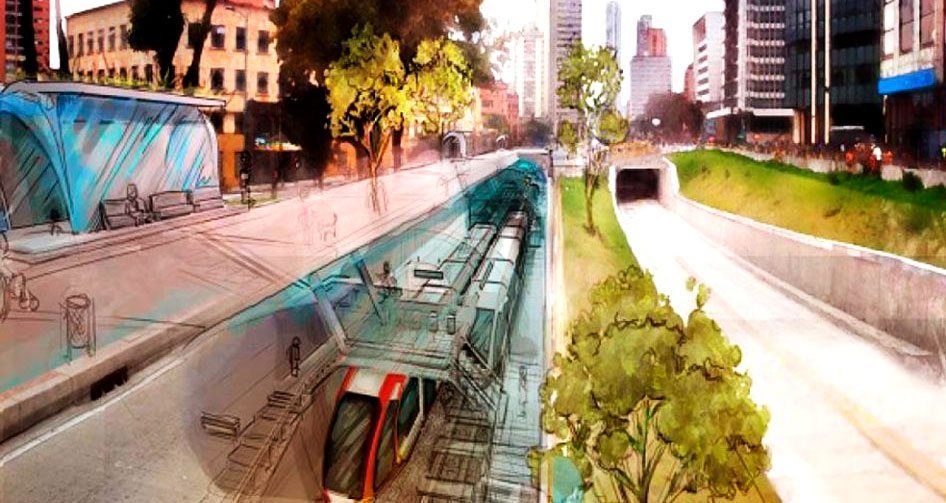A rendering of the Bogotá metro line.