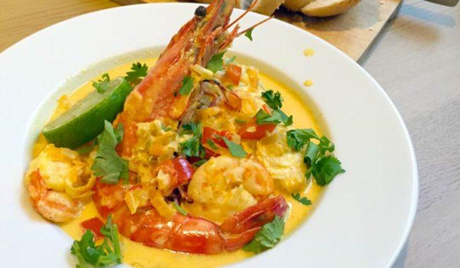Cazuela de langostino y camarón or shrimp and prawn stew at Pescadería Gourmet.