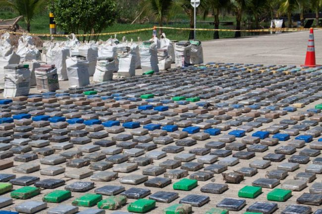 Colombia announced this week what may be the largest drug seizure ever, capturing more than eight tons of cocaine from Clan Usuga. (Photo by Policia Nacional)