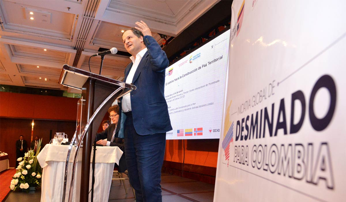 Colombia's High Commissioner for Peace Sergio Jaramillo speaks at a forum on demining.