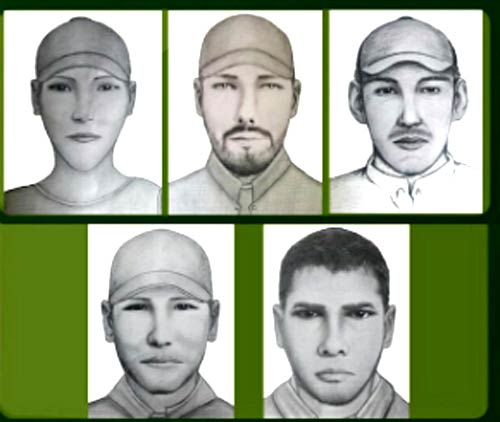 Police released these sketches of five suspects accused of robbing more than 50 hikers and bicyclists in Cundinamarca on Sunday. (Policia Nacional)