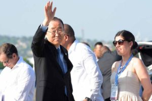 United Nations Secretary General Ban Ki-Moon waves as he arrives in Cartagena ahead of the historic peace signing. (Photo courtesy Presidencia de la Republica)