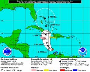 Hurricane Matthew's forecasted path takes it over Jamaica and Cuba, threatening Haiti as well. (Photo courtesy NOAA)