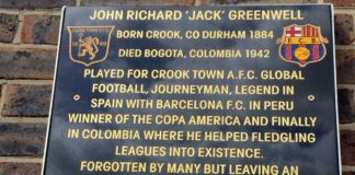 A memorial to Jack Greenwell in his hometown in England