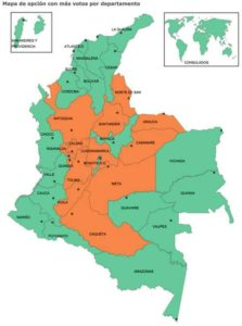 """Orange regions voted """"no"""" while green areas voted """"yes"""" regarding a peace agreement between the FARC and the Colombian government. (Photo courtesy CNE Colombia)"""