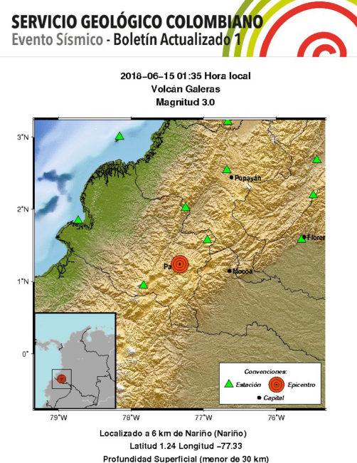 Ingeominas screenshot of seismic activity Friday, June 15, near Galeras.